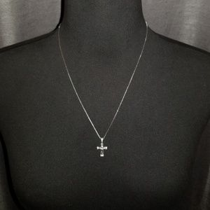 925 Silver and Crystal Crucifix Pendant and Chain